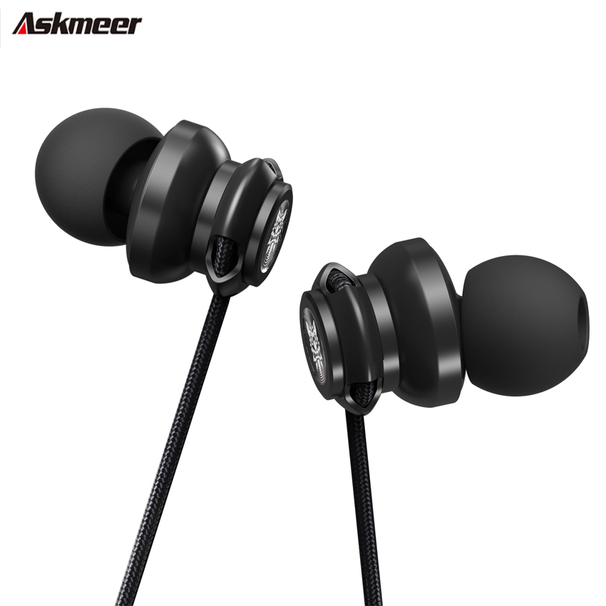 ASKMEER A2 In Ear Heavy Bass Sound Earphones 3.5mm jack Wired Earbud Sport Music Headset with Microphone for iPhone Xiaomi MP3