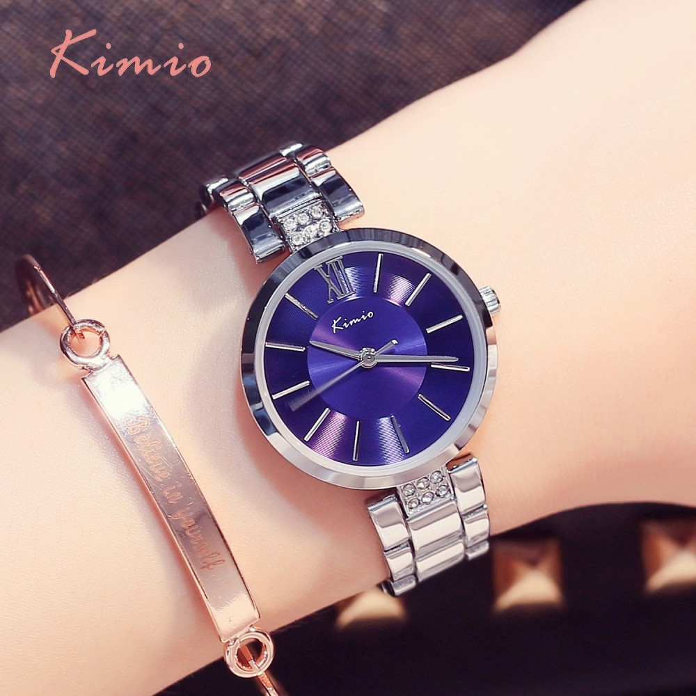 KIMIO Simple Thin Rhinestone Rose Guldkvartsure Women Fashion 2018 - Dameure - Foto 3