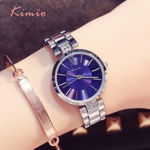 Image 2 - KIMIO Simple Thin Rhinestone Rose Gold Quartz Watches Women Fashion 2019 Ladies Watch Womens Watches Dress Wristwatch For Women