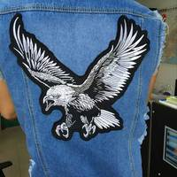 1pcs New Big Eagle Embroidery Lace Applique Paillette Fabric Sweater Clothes Patch Sequined Stickers T Shirt