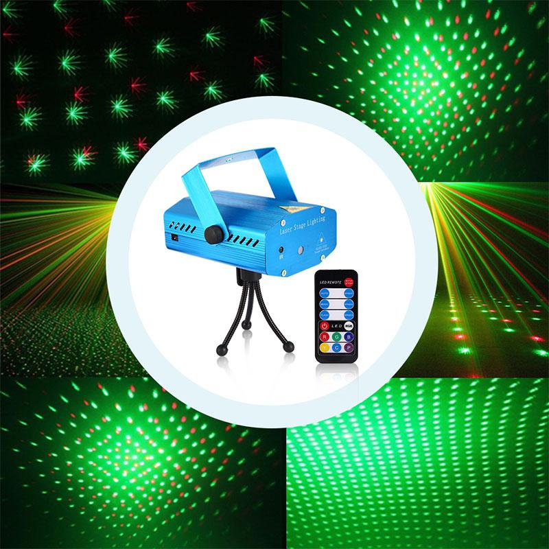 100-240V Blue Remote Control Starry Sky Stage Mini LED Laser Light DJ Club Disco Projector Lamp Festival Decoration EU Plug