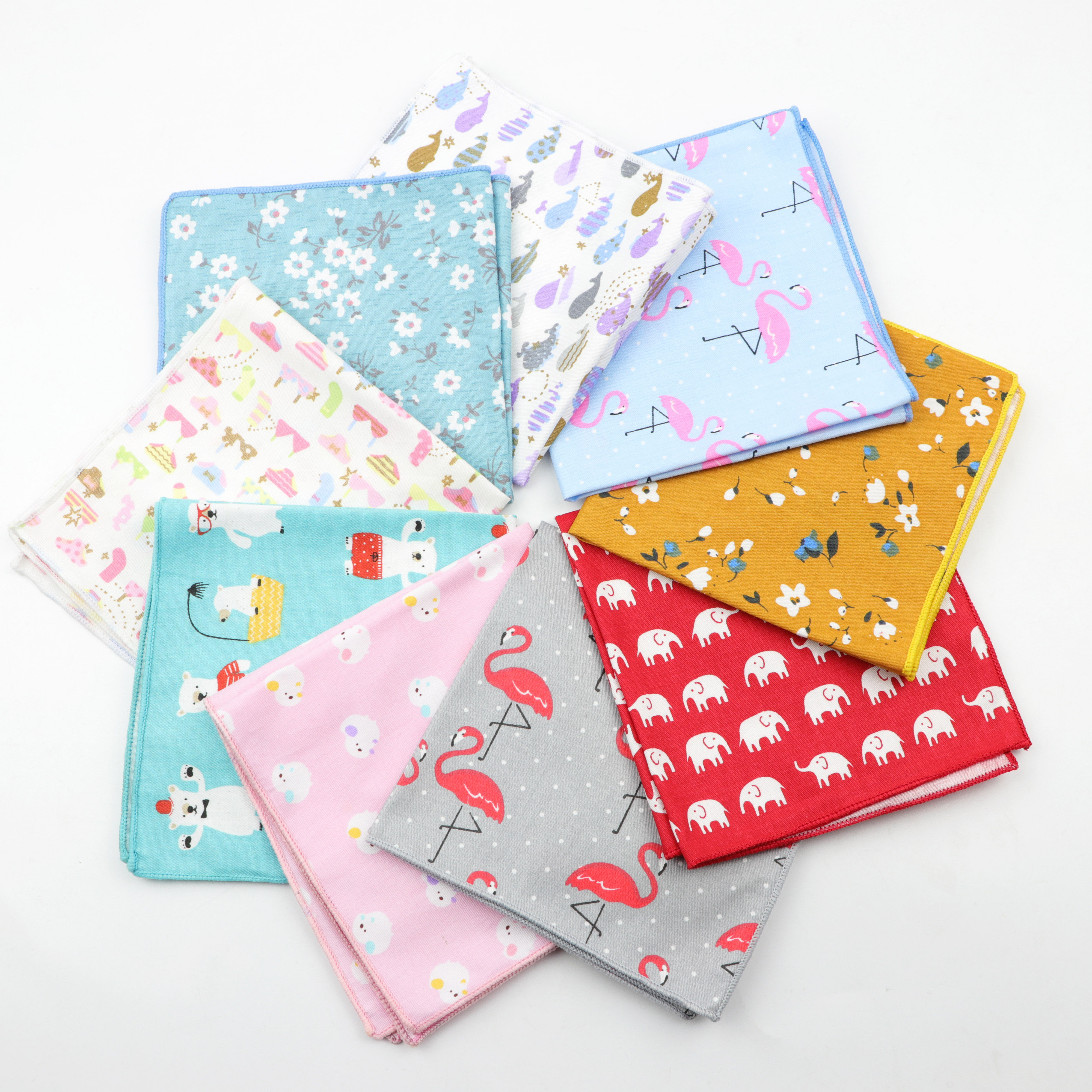 Kids Handkerchief Scarves Vintage Cotton Hankies Men's Pocket Square Children Dog Duck Animal Fruit Handkerchiefs