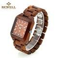 Bewell new das mulheres dos homens de quartzo relógio de pulso com calendário de madeira madeira praça bracelet watch relogio masculino dos homens leves