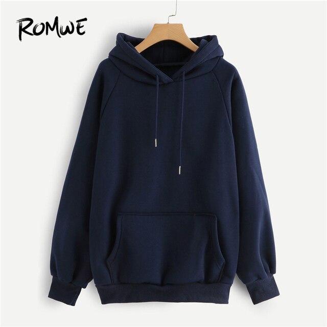 ROMWE Raglan Sleeve Kangaroo Pocket Drawstring Hoodie Women Casual Autumn  Navy Hooded Full Sleeve Ladies Spring Plain Sweatshirt d6daf40e1