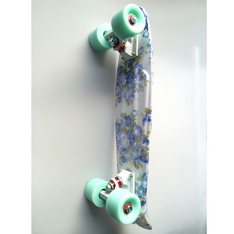 Blue Floral Mini Cruiser Plastic Skateboard Penny Board 22