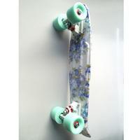 Blue Floral Mini Cruiser Plastic Skateboard Penny Board 22 X 6 Retro Longboard Skate Long Board Graphic Printed