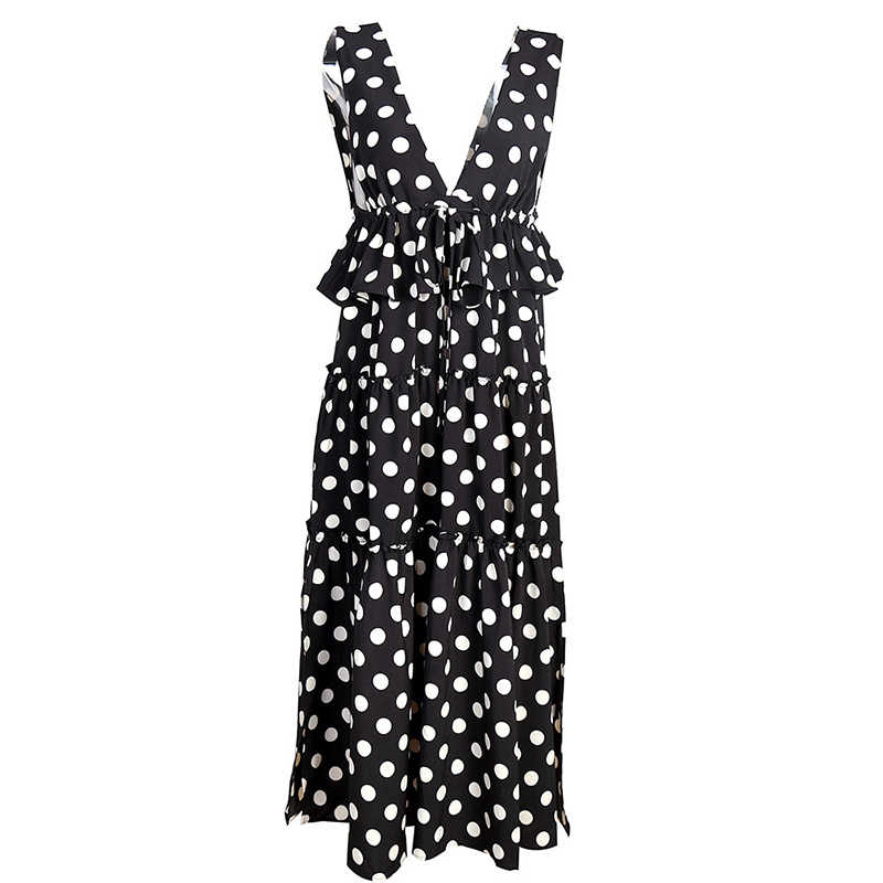 TWOTWINSTYLE シフォンドレス女性の V ネックノースリーブドローストリングバックレスハイウエストフリルスプリットロング休日のドレス夏