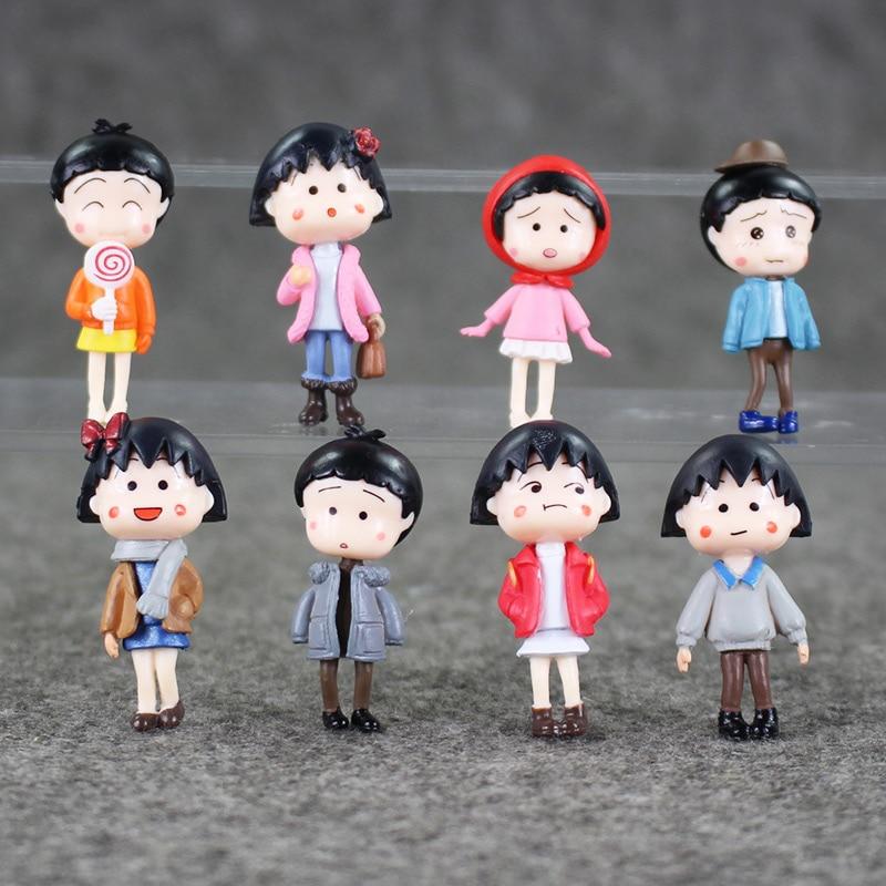 Chibi Maruko Chan Capitulo 4: 8pcs/lot 4 4.5cm Chibi Maruko Chan Souvenir Resin Cartoon