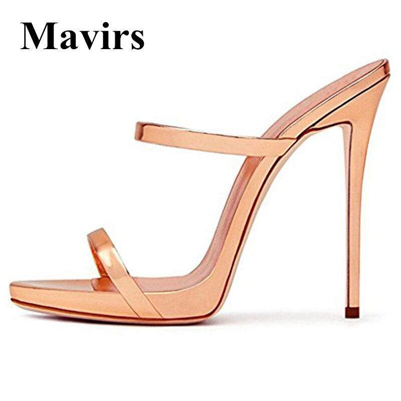 MAVIRS Brand 12CM Extreme High Heels Sandals Woman Pumps Champagne Gold Gladiator Sandalias Feminina Stiletto Shoes US Size 5-15