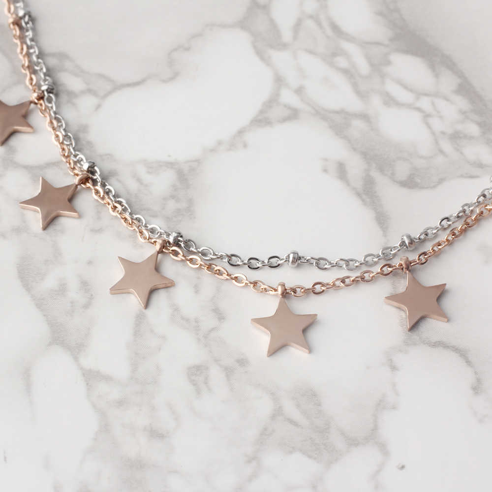 FINE4U B121 Stainless Steel Coin Star Charm Bracelet Double Layer Rose Gold/Silver Color Link Bracelets 2019 Summer Jewelry
