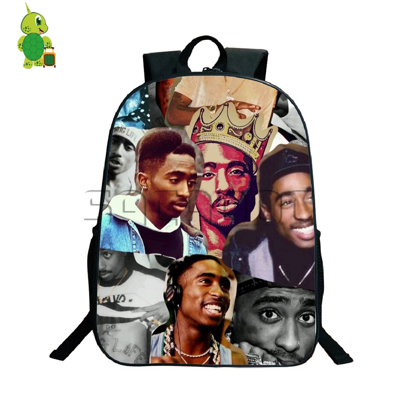 Famous Rapper Tupac Shakur Backpack School Bags For Teenagers Daily Backpack Travel Shoulder Bags Hip Hop Fans Collection