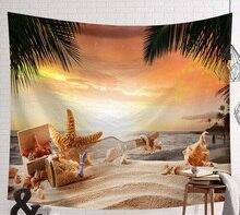 Cammitever 비치 장면 바다 스타 쉘 벽 담요 psychedelic tapestry