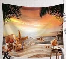 Tapiz psicodélico de manta de pared con conchas de Estrella del Mar escena de playa CAMMITEVER