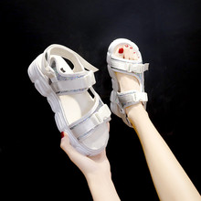 HKJL New womens 2019 summer sandals platform shoes Korean version open-toe all-in-one sports wedge loafers A607