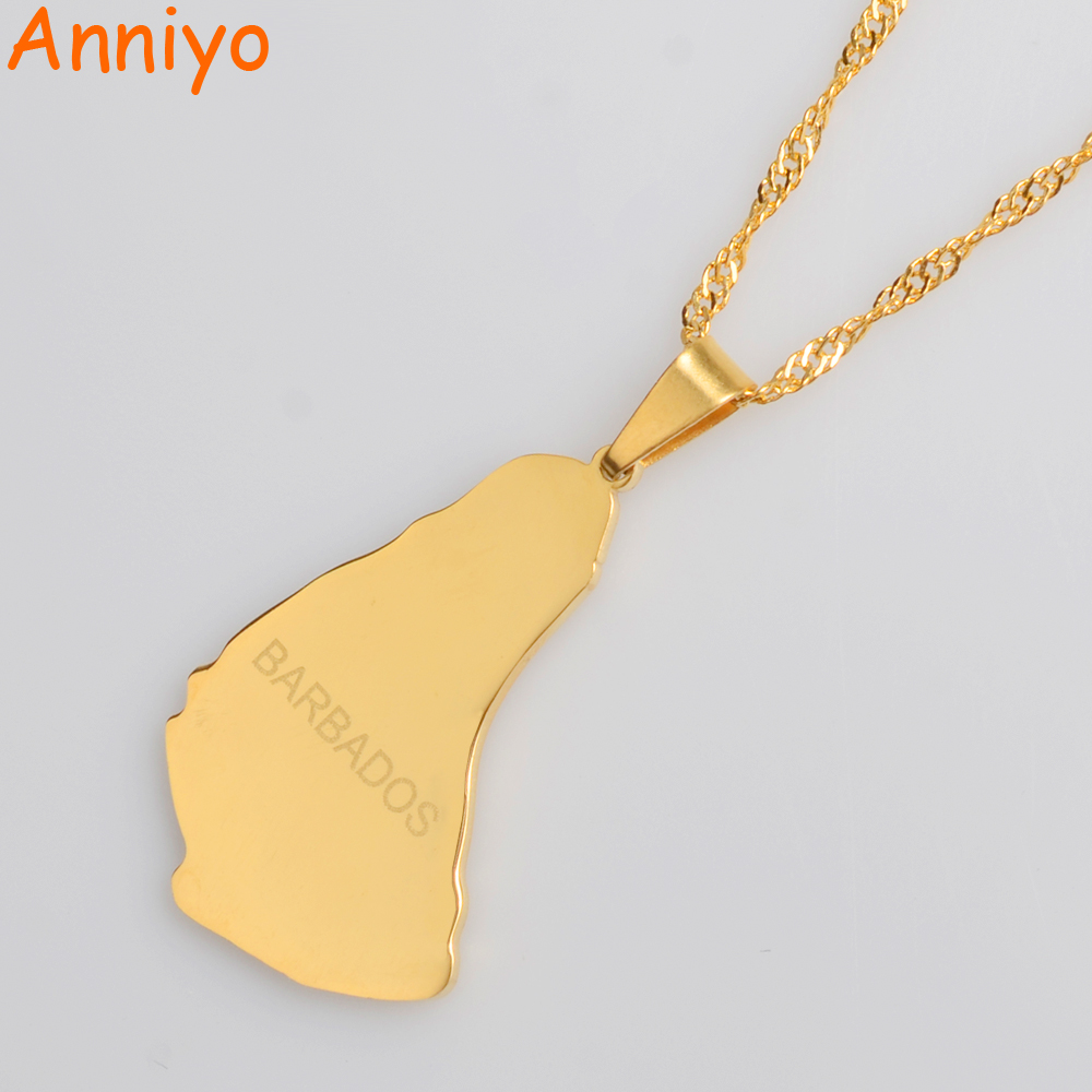 Anniyo Gold Color Map of the Barbados Island Pendant Necklaces Fashion Maps Jewelry Gifts #013921