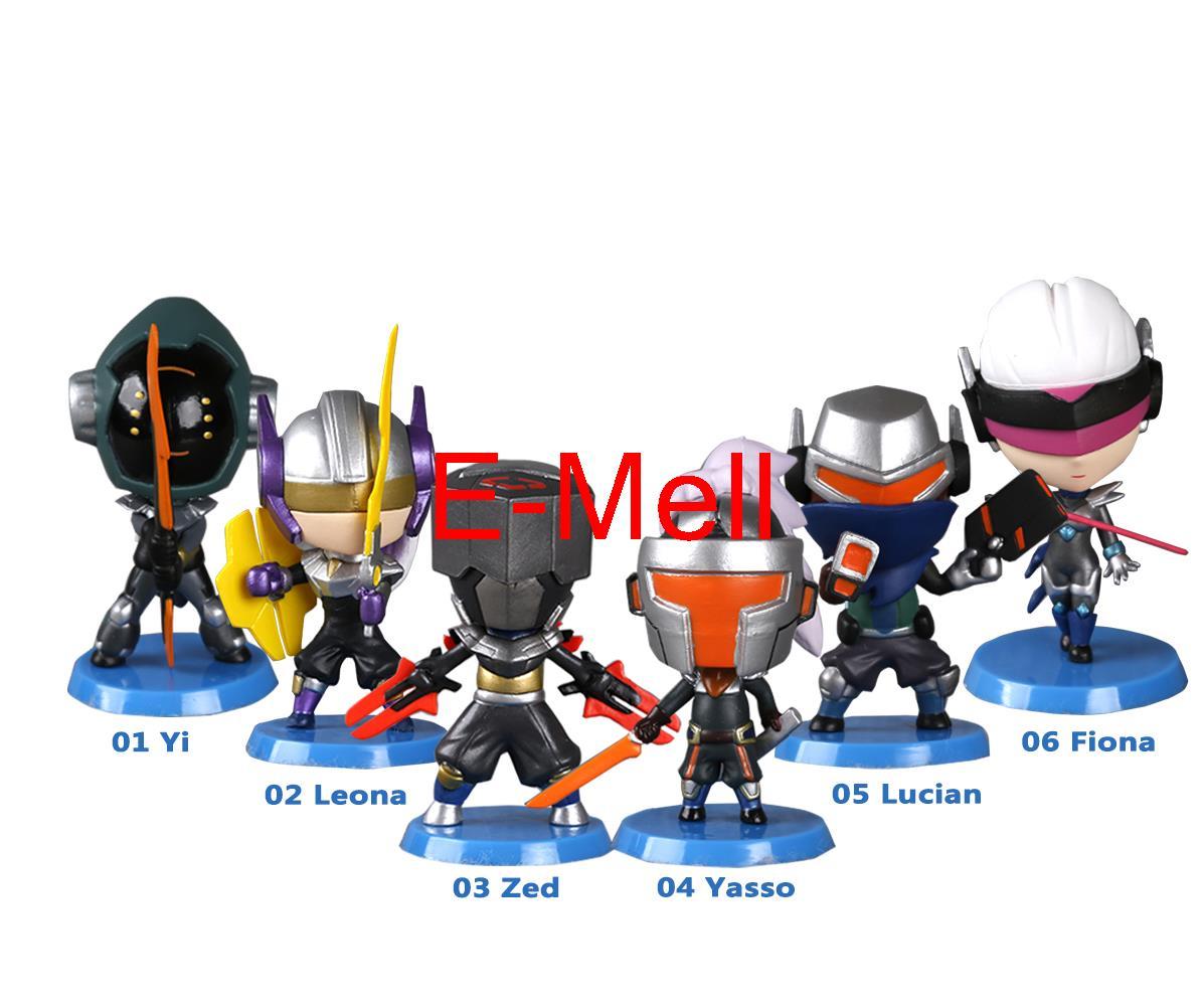 ФОТО hot game lol cosplay leona yi lucian fiona yasso pvc q-version garage kits action figures model toys