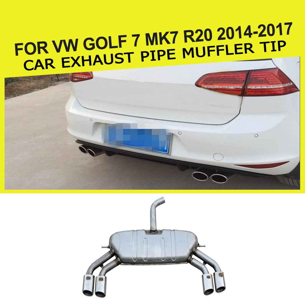 Stainless Steel Auto Car Exhaust Pipe muffler Tip For VW Golf 7 MK7 R20 2014 2017