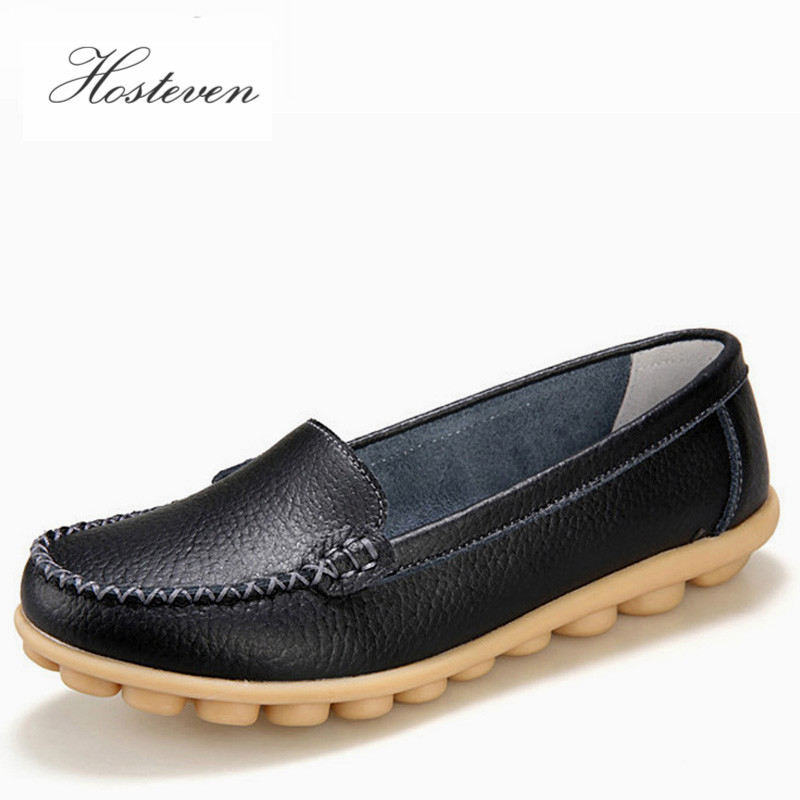 Hosteven Women Shoes Äkta Läder Sneakers Casual Women Loafers Slip On Kvinna Flats Sko Låg Heel Moccasins Skor