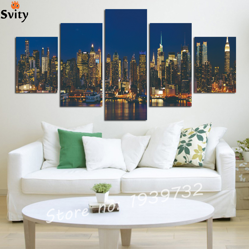 5 panel new york night aluminum construction canvas art for Home decor new york