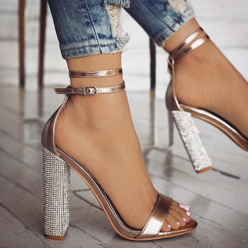 Size 34-43 Women High Heel Sandals Genuine Leather Rhinestone Metal Buckle Thick Heels Shoes Woman Party Shoes,White,7