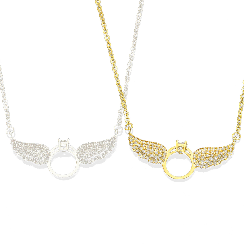 10PCS Crystal Guardian Angel Heart Wings/Wing Silver Tone Necklace Gift for Women Teens Girls