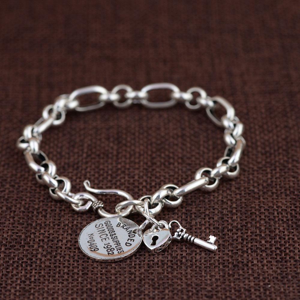 925 Silver Link Chain Bracelet 18cm Round Tag Key Lock Charm 100% Original S925 Thai Silver Bracelets for Women Men Jewelry