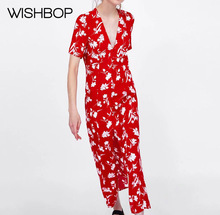 2018 Summer New Red Long Floral Print Dress - Fashion Flowing V-neck Dress  Featuring 8098eff70d4e