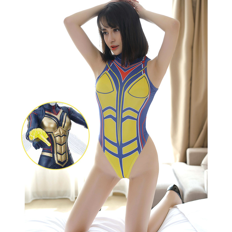 Janet Van Dyne Wasp Cosplay Costume Ant-man Marvel Girls Sukumizu Romper Sexy Lingerie Sexy Swimsuit Superhero Erotic Bodysuit