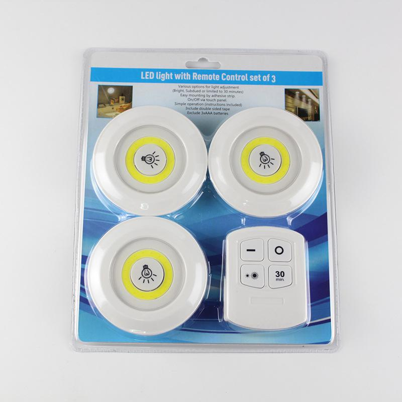 3pcs Touch Night Light Dimmable LED Under Cabinet Light Closet Kitchen Lighting Lamp With Remote Control