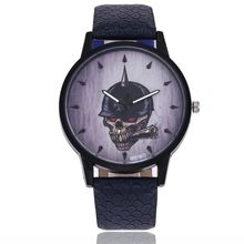 Women Men Fashion Skull Leather Band Analog Quartz Round Wrist Watch Watches Relogio Feminino Erkek Kol Saati Y10(China)