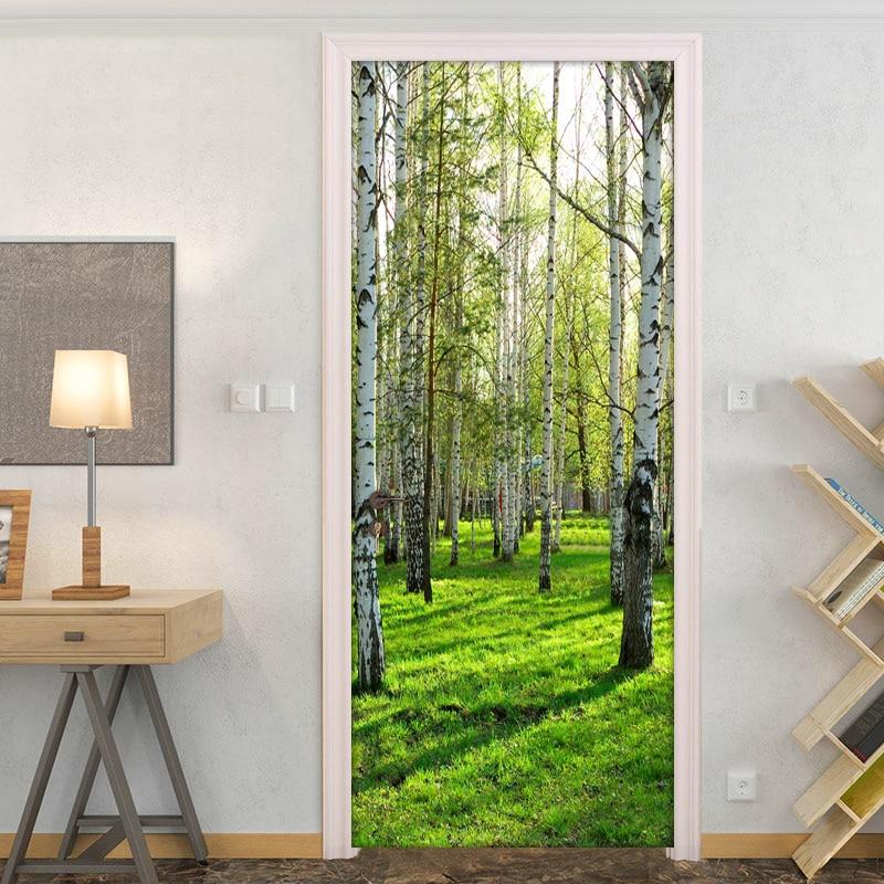 3D Door Sticker Green Forest Tree Mural Wallpaper Home Door Living Room DIY Door Stickers PVC Self-adhesive Vinyl Door Wallpaper