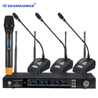 Top quality Original 4CH UHF Wireless Microphone Professional System with gooseneck conference mic and handheld megaphone kit