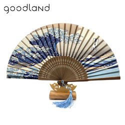 Free Shipping 1pcs Japanese Real Silk Fan Mount Fuji Kanagawa Waves Bamboo Elegant Pocket Folding Fan Portable Women Fans Craft