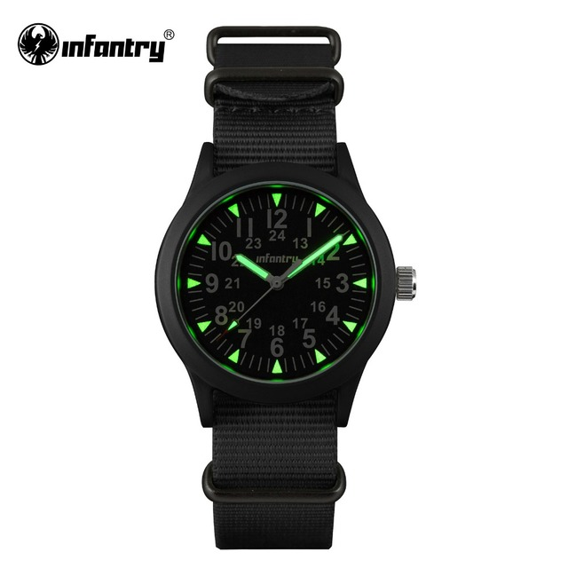 INFANTRY Mens Watches Luminous Hattori Japan Quartz Watch Relojes Nylon Watches G10 Heavy Nylon Military Army 30M Waterproof