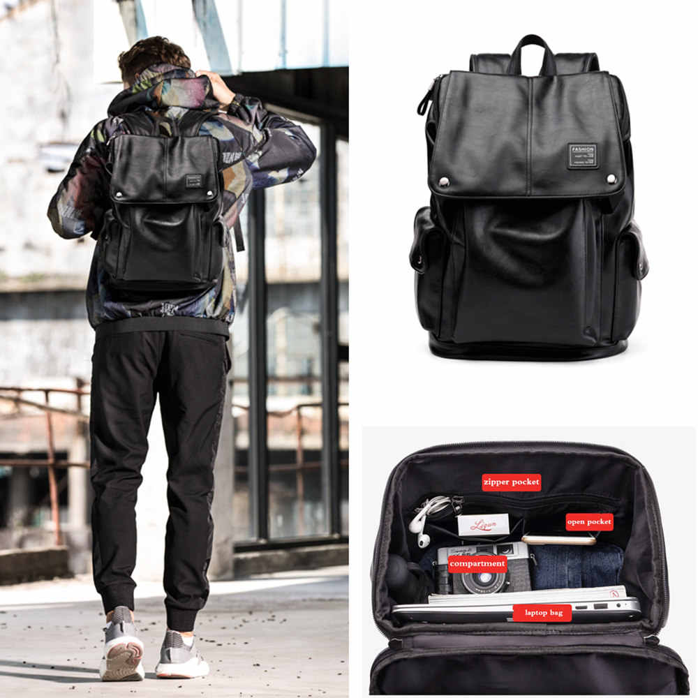 BISON джинсовый бренд мужской рюкзак Водонепроницаемый Модный Pu кожаный дорожный рюкзак 15 дюймов рюкзак для ноутбука для подростков mochila N2832