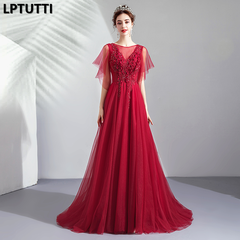 LPTUTTI Embroidery Appliques New For Women Elegant Date Ceremony Party Prom Gown Formal Gala Events Luxury Long   Evening     Dresses