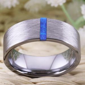 Image 3 - クラシック結婚指輪男性の女性のファッション婚約指輪オパール石でブラッシング周年記念ブライダルジュエリー