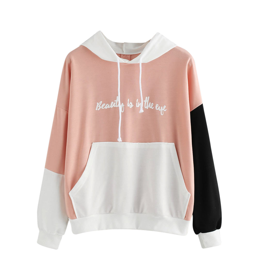 Dedicated Korean Pink Patchwork Hoodie Tops Womens Autumn Pullovers Fall Ladies Long Sleeve Letters Printed Casual Sweatshirt Cropped #yl5 Strengthening Waist And Sinews Women's Clothing