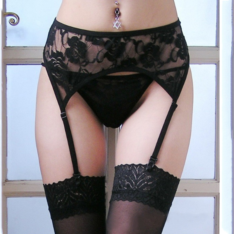 Rose Pattern Fashion Lace  Ladies  Womens Top Thigh-Highs Stockings  within Temptation Suspender Garter Belt Transparent  Socks(China)