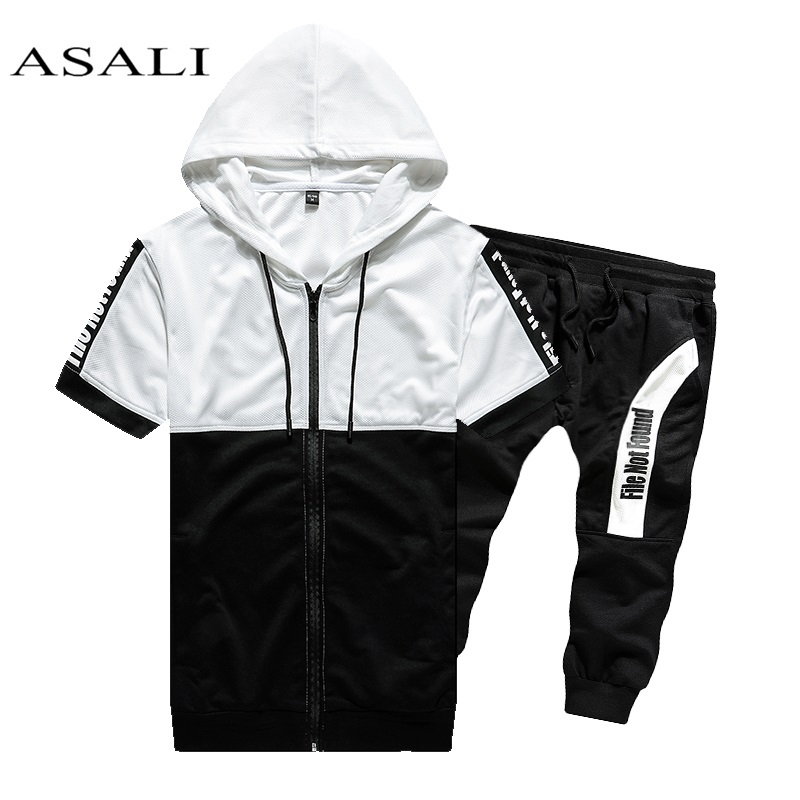 2019 Men Sets Hooded Sweatshirt 2 Piece Mens Hoodies Top Casual Sweatshirt Male Coats Sweat Suits Letter Print Sets Short Sleeve
