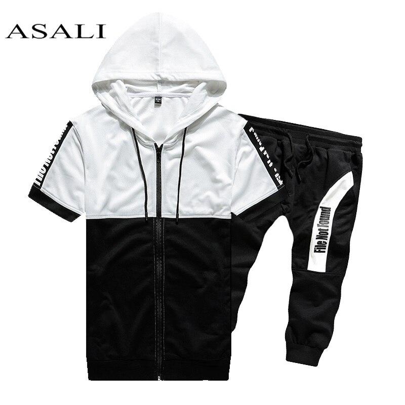 2020 Men Sets Hooded Sweatshirt 2 Piece Mens Hoodies Top Casual Sweatshirt Male Coats Sweat Suits Letter Print Sets Short Sleeve