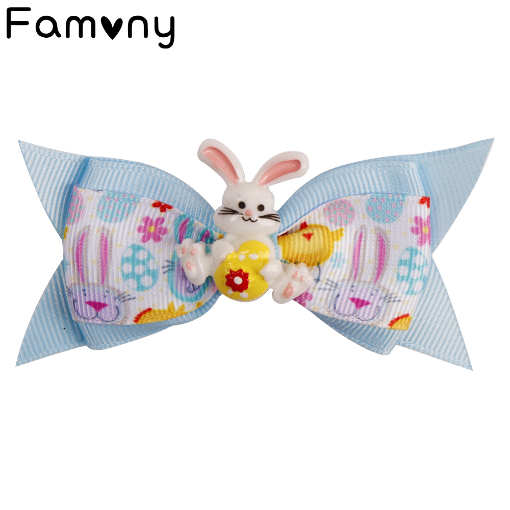 3 Inch Mini Easter Day Hair Bow Handmade Grosgrain Ribbon Clips With Plastic Rabbit Knot Festival Party Accessories