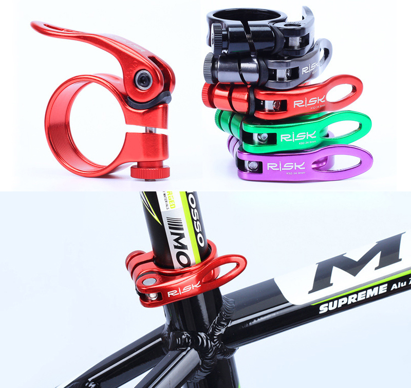 RISK MTB Bike Quick Release Seatpost Clamp Saddle 5Colors Aluminum Ultralight Road Bicycle Seat Post Clamp 31.8mm / 34.9mm