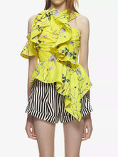 New Fashion Floral Printed Ruffle Blouse Sexy Halter Asymmetrical Blouses Casual Yellow Sleeveless Blouse ruffle detail wide cuff trapeze pinstripe blouse