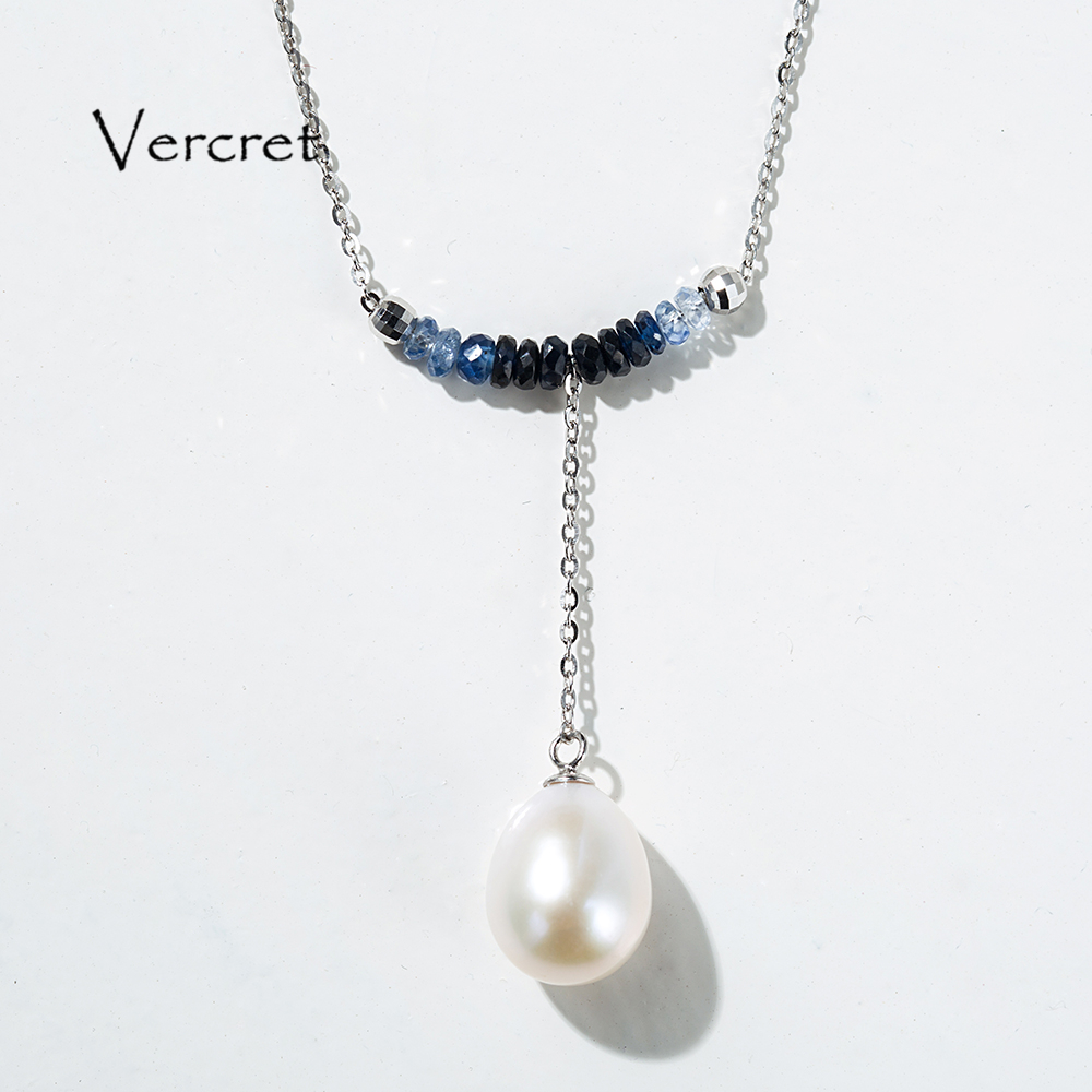 Vercret tear drop pearl tassel pendant necklace vintage blue beads 925 silver jewelry 5A freshwater pearl link chain necklace недорго, оригинальная цена