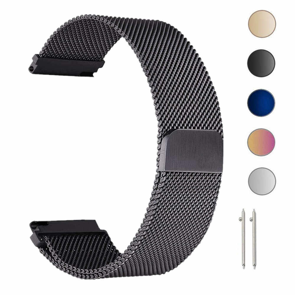 Metal Milanese Loop Band Strap For Xiaomi Huami Amazfit Bip 20mm Wrist Band Belt For Samsung Gear S3 22mm Replacement Strap