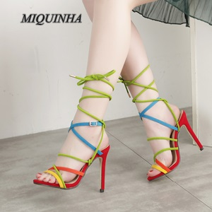 ФОТО new arrival hit color lace up women shoes thin high heel open toe hollow out sandals fashion party beautiful footwear