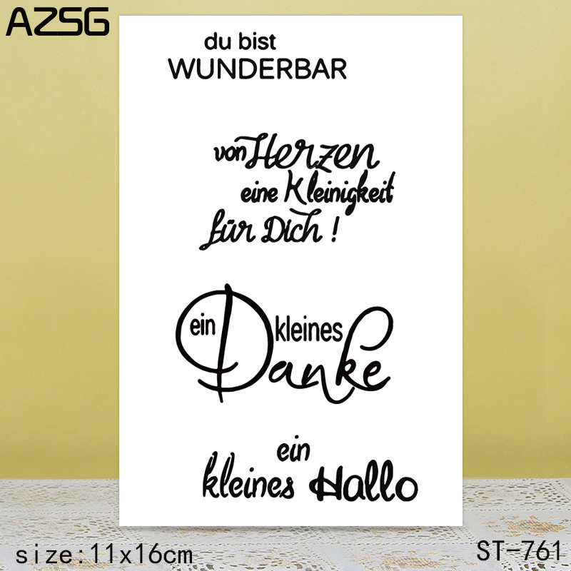 AZSG WordArt Clear Stamps Seals For scrapbooking DIY Card Making Album Silicone Decoration crafts in Stamps from Home Garden