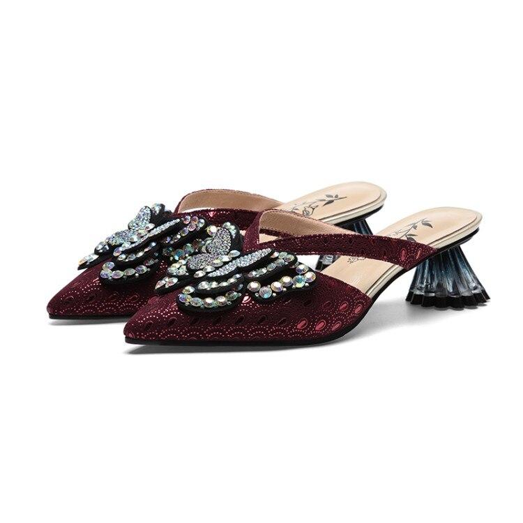 MLJUESE 2019 delle donne pantofole di pelle di Pecora di stile di Roma bow legato punta a punta vino di colore rosso tacco strano spiagge dei sandali del partito formato 42-in Pantofole da Scarpe su  Gruppo 3