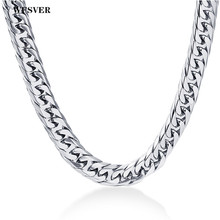WFSVER 316L Stainless Steel Mens Silver Color 8mm Width Chain Necklace For Male Female Hip Hop Jewelry